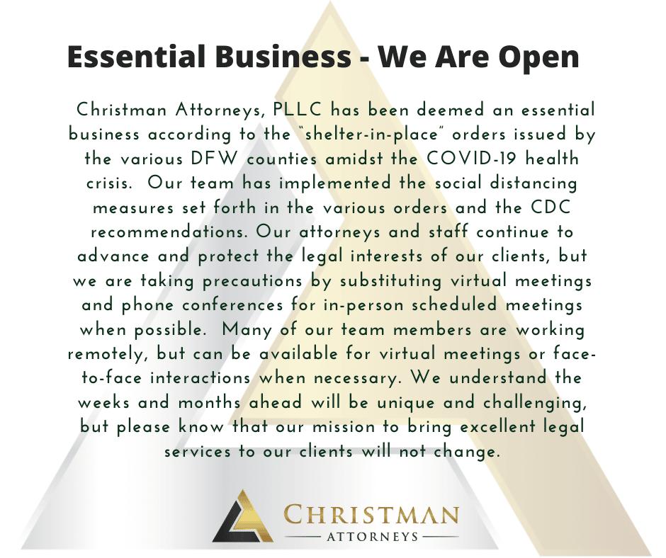 Christman Attorneys Essential Business